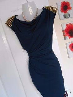 STUNNING RIVER ISLAND SIZE 12 NAVY GOLD STUD SHOULDER DRESS FAST POSTAGE