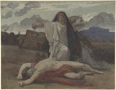 Jules-Eugène Lenepveu, Antigone Gives Token Burial to the Body of Her Brother Polynices, 19th century, Les carnets d'Eimelle littérature théâtre voyage: Antigone théâtre et peinture 1