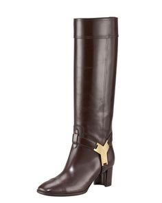 Signature Buckle Knee Boot by YSL at Bergdorf Goodman.