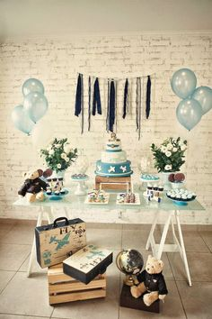 aviator baby shower table More