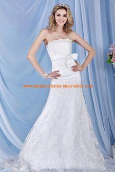 A-linie Glamouröse Dramatische Brautkleider aus Softnetz mit Applikation