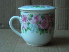 ABBOTT COLLECTION PORCELAIN FLORAL TEACUP WITH STRAINER & LID | Collectibles, Decorative Collectibles, Tea Pots, Sets | eBay!
