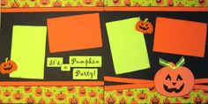Scrapbook pages Halloween Pumpkin Carving Layout 2 Page Kit Premade
