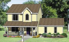"""Houseplan 340-00027 New favorite! Almost perfect flip dwnstrs bth & one above it so plumbing NOT in dining room wall. Expand Kitchen to fill """"nook"""" and put laundry facing stairs (if space, create a 6x6 room for it) Don't want fancy punch out above front door (is there a better design?) Nook indent useless; make straight wall.  Make stairs turn by moving entry closet to side where stairs currently exit."""