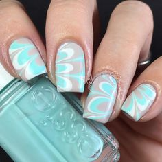 Tiffany Blue and Taupe Watermarble Nails