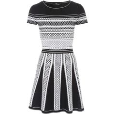 Black and White Textured Jacquard Skater Jumper Dress ($76) ❤ liked on Polyvore featuring dresses, short-sleeve dresses, party dresses, black and white dress, going out dresses and black white dress