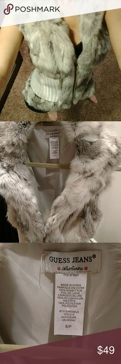 Guess Rabbit Fur vest This is NWOT. Beautiful, soft, and can be worn all year. Please see all photos for full description and details. Guess Jackets & Coats