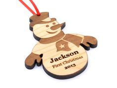 Personalized Christmas Ornament Wooden Snowman by KeepsakeToys, $15.00