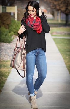 Pop of color with a holiday scarf!