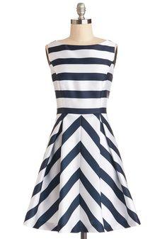ModCloth Nautical Mid-length Sleeveless A-line Flight Stripes Dress Pretty Outfits, Pretty Dresses, Cute Outfits, Mod Dress, Dress Skirt, Blue Fashion, Fashion Outfits, Nautical Fashion, Fashion Clothes