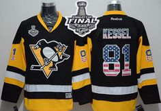 Penguins #81 Phil Kessel Black Alternate USA Flag Fashion 2017 Stanley Cup Final Patch Stitched NHL Jersey