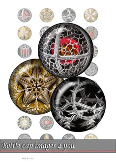 GOTHIC Macromir - Digital Collage Sheet - Bottle Cap Images - 1 inch  Printable circle Images for round resin and glass Pendants
