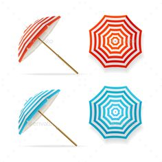 Sun Umbrella Set by mousemd Sun Umbrella Set Striped Beach Parasols Top View and Side. Symbol of Summer Tourism Vector illustration Vector EPS10 file fully ed