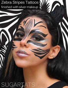 Zebra Stripes SugartTats Temporary Makeup Tattoos by SugarTats