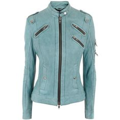 Schyia Turquoise Leather Jacket Indira ($695) ❤ liked on Polyvore