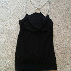 Black draped neckline top Silver chain deatil In perfect condition Never worn Tops Blouses