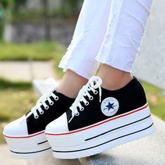 f83f008a260 Women s High Platform Pumps Lace Up Canvas Shoes Casual Sneakers Loafers  Heels