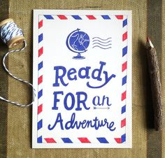 Ready for an Adventure  Airmail Art Print  8x10 by ellolovey #airmail #adventure