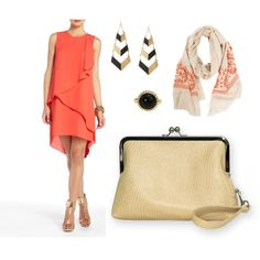 """Coral, Gold, and Black"" by sassysaks @Polyvore http://www.sassysaks.com/products/sassy-clutch/taupe-faux-leather.php"