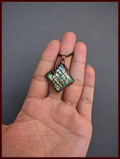 Square pendant made of copper wire with labradorite