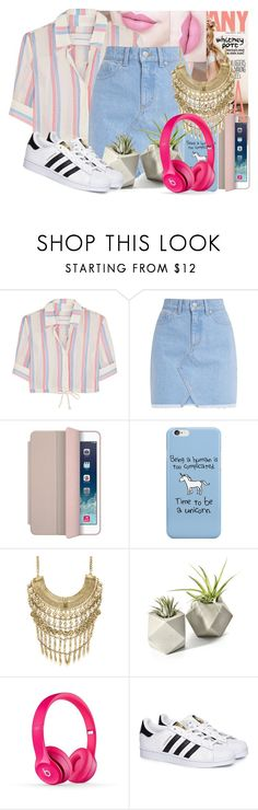 """Striped Crop Top"" by ari-ellah ❤ liked on Polyvore featuring Anastasia Beverly Hills, Solid & Striped, Apple, Marabelle and adidas"