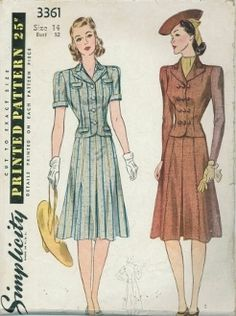 An original ca. 1940's Simplicity Pattern 3361.  Misses' Two-Piece Dress, Jacket Blouse and Skirt. Skirt with inverted pleat at center-front, is finished at top with belt. Blouse is dart-fitted, front and back. Style I, Blouse has short sleeves finished with cuffs and faced patch pockets which fold to outside to form flaps. Style II has long sleeves, darted-in armhole.