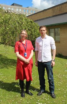 Sue Johnson, Head of Nursing for Surgery with Plymouth College of Art student, Luke Axworthy, who designed the winning nursing and midwifery badges. Midwifery, Plymouth, Badges, Surgery, Nursing, University, College, Student, Celebrities
