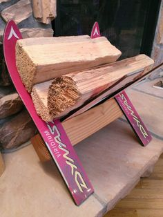 Indoor/outdoor Recycled Ski Firewood Rack / Log Holder