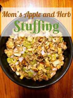 Apple Herb Stuffing. An easy comfort food dish to make for the holidays. This recipe is made with apples, almonds, and herbs.
