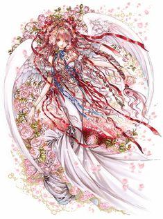 Red angel with long curly brown hair, red ribbons, feather wings, & white dress by manga artist Shiitake. Chica Anime Manga, Manga Girl, Anime Art, Beautiful Anime Girl, Anime Love, Kawaii Girl, Kawaii Anime, Photo Manga, Manga Artist