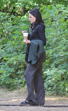 """Lana Parilla - 5 * 1 """" Dark Swan"""" 14 July 2015 no one can make listening to earphones and drinking coffee look beautiful"""