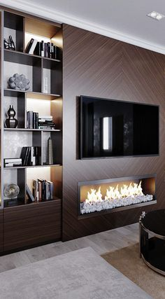 dreamy partition apartment design ideas you must have - page 14 ~ Modern House Design Fireplace Tv Wall, Fireplace Design, Fireplace Surrounds, Living Room Modern, Home Living Room, Modern Tv Room, Cozy Living, Small Living, Apartment Living