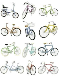 12 Bicycle Drawings  by Christine Berrie  Love her. Love her.
