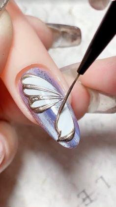 Girls Nail Designs, Gel Nail Art Designs, Nail Art Designs Videos, Black Nail Designs, Nail Art Videos, Simple Nail Designs, Gem Nails, Hair And Nails, Nailart