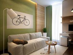 Wohnideen Wohnzimmer-ein ruhiges Gefühl durch die Farbe Grün vermitteln