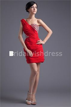 Elegant Holiday Short/ Mini Chiffon Silk-like Satin Homecoming 2013