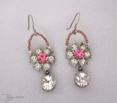 Vintage Repurposed Rhinestone Earrings, Pink Rhinestone Flower Earrings, Dangle, Handmade Jewelry, One of a Kind JryenDesigns
