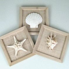 So simple - wood frames, no glass, burlap, and mount your favorite shells - Done!