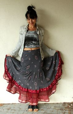 M-L Gypsy tribal bellydance India boho fantasy long and wide