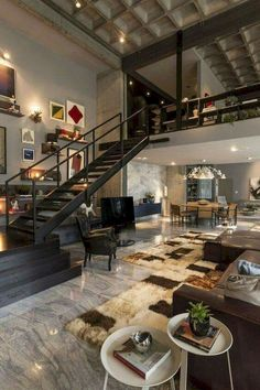 Loft furniture and furnishings - a more and more gaining power fashion - loft leather sofa interior staircase carpet candlestick - Loft Design, Design Case, House Design, Design Room, Shelf Design, Wall Design, Industrial House, Industrial Interiors, Industrial Style