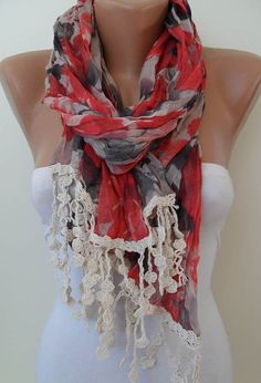 Red and Grey Scarf  with Beige Trim Edge  New by SwedishShop, $19.90