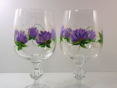 Hand Painted Wine Glasses Flowers   ... com these are beautiful wine glasses with a cut glass ball on the stem