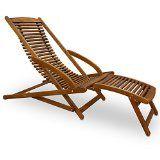 Chaise longue en bois dur d'acacia inclinable pour jardin terrasse avec coussin de tête inclus