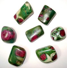 Ruby Zoisite~ The zoisite and ruby conglomerate is quite magical. It can create altered states of consciousness and can serve as a vehicle for reaching and utilizing talents and abilities of the mind. All the psychic abilities can be stimulated and amplified by the use of this stone. It provides for amplification of the entire energy field of the body. It increases the awareness of ones individuality while allowing one to maintain connected-ness with humanity. From Love is in the Earth - Melody
