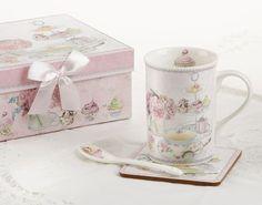 Tea Party Mug Set includes 11 oz mug, spoon and coaster in gift box.