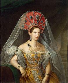 Alessandra Feodorovna I con un copricapo ispirato al costume tradizionale