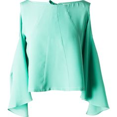 Leka - Mint Open Back & Shoulder Silk Blouse ($220) ❤ liked on Polyvore featuring tops, blouses, open shoulder top, mint green blouse, cut-out shoulder tops, cut out shoulder top and open back blouse