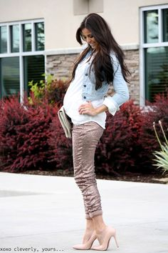 stylish mom-to-be! - ill need this outfit one day! Stylish Maternity, Maternity Wear, Maternity Fashion, Maternity Style, Summer Maternity, Maternity Clothing, Maternity Pants, Pregnancy Looks, Pregnancy Outfits