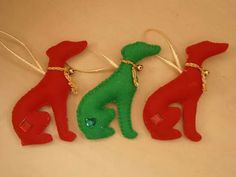 Pack of 3 hanging hounds, Christmas ornaments made by Karen's Handcrafted Gifts