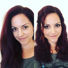Before - After  OHNE Make up  glatte Haare VS. MIT Make up  wellige Haare